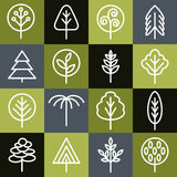 Outlined icons trees. Outlined icons for web sites. White trees on a color background Royalty Free Stock Images