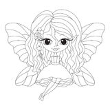 Outlined illustration of an adorable fairy Royalty Free Stock Images