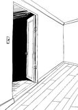 Outlined Illustration of Empty Room Stock Image