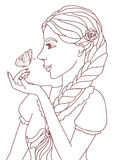 Outlined illustration of a pretty smiling girl with a butterfly Stock Photos