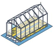 Outlined isometric greenhouse with glass walls, foundations, garden bed. Outlined isometric greenhouse with glass walls, foundations, gable roof and garden bed vector illustration
