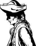 Outlined man in tricorn hat over white. Outlined side view of 18th century man in tricorn hat over white Royalty Free Illustration