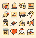 Outlined media icons set Royalty Free Stock Images