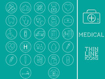 Outlined Medical and Healtcare Icons Set Royalty Free Stock Photography