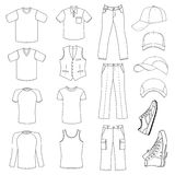 Outlined menswear, headgear & shoes season collection royalty free illustration