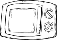 Outlined Microwave Oven With Closed Door. And control dials over white background Royalty Free Stock Photography