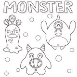 Outlined monsters Royalty Free Stock Photos
