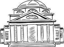 Outlined neoclassical building with obscured doorway. Outlined exterior front view on single neoclassical building with obscured doorway and domed roof Stock Images