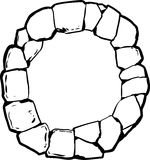 Outlined Old Stone Ring for Well Royalty Free Stock Image