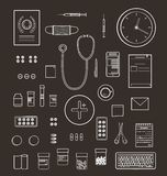Outlined One Color Medical Symbols and Icons Royalty Free Stock Images