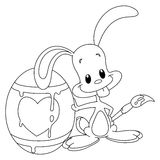 Outlined painter bunny Stock Image