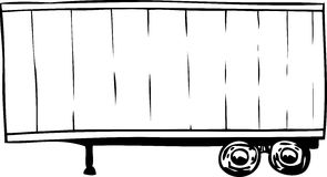 Outlined parked cargo shipping trailer. Outlined single parked cargo truck trailer with wheels Royalty Free Stock Images