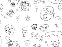 Outlined Pattern of Happy People Royalty Free Stock Photo