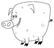 Outlined pig Stock Photos
