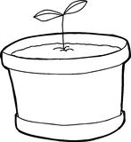 Outlined Plant in Pot Stock Image