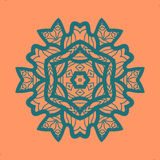 Outlined Print on Orange Color Background. Mandala Flower for Colouring Work Relaxation Adult Zentangle Background Stock Photo