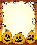 Outlined pumpkins Halloween frame 1. Eps10 vector illustration stock illustration