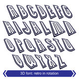 Outlined rotated vector font, 3d letters set. Stock Image