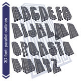 Outlined rotated vector font, striped letters set. Stock Image