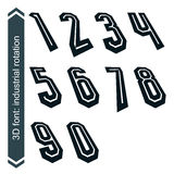 Outlined rotated vector numeration, monochrome bold numbers Royalty Free Stock Photo