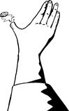 Outlined Severed Bleeding Thumb. Outline close up of severed bleeding thumb Stock Images