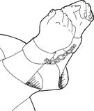 Outlined of Shackled Man. Outline cartoon of man in shackles over white Royalty Free Stock Photo