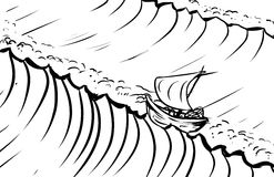 Outlined ship and tidal waves Royalty Free Stock Image