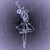 Outlined silhouette of blind girl which dancing in the rain on grey background. Balet dancer. royalty free illustration