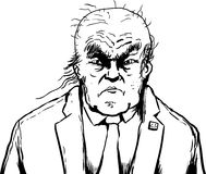 Outlined sketch of balding Donald Trump with frown. April 18, 2017. Outlined sketch of balding Donald Trump moping Royalty Free Stock Photography