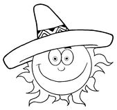Outlined smiling sun with sombrero hat vector illustration