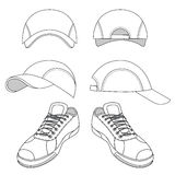 Outlined sneakers & baseball cap set Stock Photography