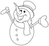 Outlined snowman raising arms Royalty Free Stock Photos