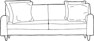 Outlined Sofa Cartoon Royalty Free Stock Photo