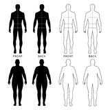 Outlined standing man, woman. Full length front and back view of a fat standing naked woman and man outlined silhouette with marked body sizes lines, isolated on Royalty Free Stock Photography