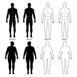 Outlined standing man, woman. Full length front and back view of a fat standing naked woman and man outlined silhouette with marked body sizes lines, isolated on vector illustration