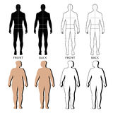 Outlined standing man, woman. Full length front and back view of a fat standing naked woman and man outlined silhouette with marked body sizes lines, isolated on Stock Photo