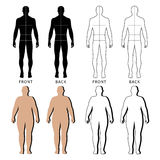 Outlined standing man, woman. Full length front and back view of a fat standing naked woman and man outlined silhouette with marked body sizes lines, isolated on Royalty Free Stock Photos