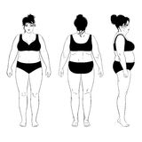 Outlined standing woman. Full length front, back, side view of a fat standing naked woman, isolated on white background. Vector illustration. You can use this Stock Photography