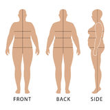 Outlined standing woman. Full length front, back, side view of a fat standing naked woman outlined silhouette with marked body`s sizes lines, isolated on white Royalty Free Stock Images