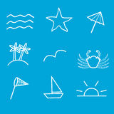Outlined summer icons Royalty Free Stock Image