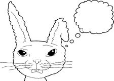 Outlined Surprised Rabbit Thinking Royalty Free Stock Images