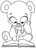 Outlined teddy bear reading book Royalty Free Stock Images