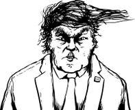 Outlined Trump Hair Blowing Sideways Stock Image