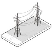Outlined vector high voltage pylons in mobile phone, isometric perspective. Vector high voltage pylons in mobile phone, isometric perspective. Wire metal pole Royalty Free Stock Images