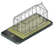 Outlined vector isometric greenhouse with glass walls in mobile phone, isometric perspective. Stock Photo
