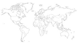 Outlined vector map of the world Stock Photo