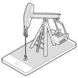 Outlined vector oil extraction pump in mobile phone in isometric perspective. Stock Images