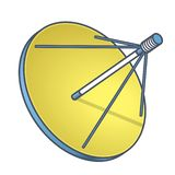 Outlined vector satellite dish in isometric perspective, isolated on white background. Blue yellow transmission aerial, communicat vector illustration
