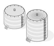 Outlined water reservoir supply. Water reservoir isometric building info graphic. Royalty Free Stock Images
