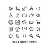 Outlined Web and Internet Icon Set Stock Photos